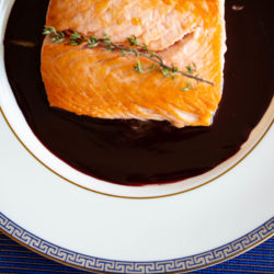 Salmon with a Red Wine Sauce