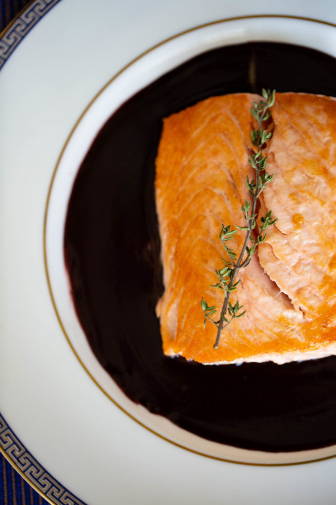 Salmon in a Red Wine Sauce