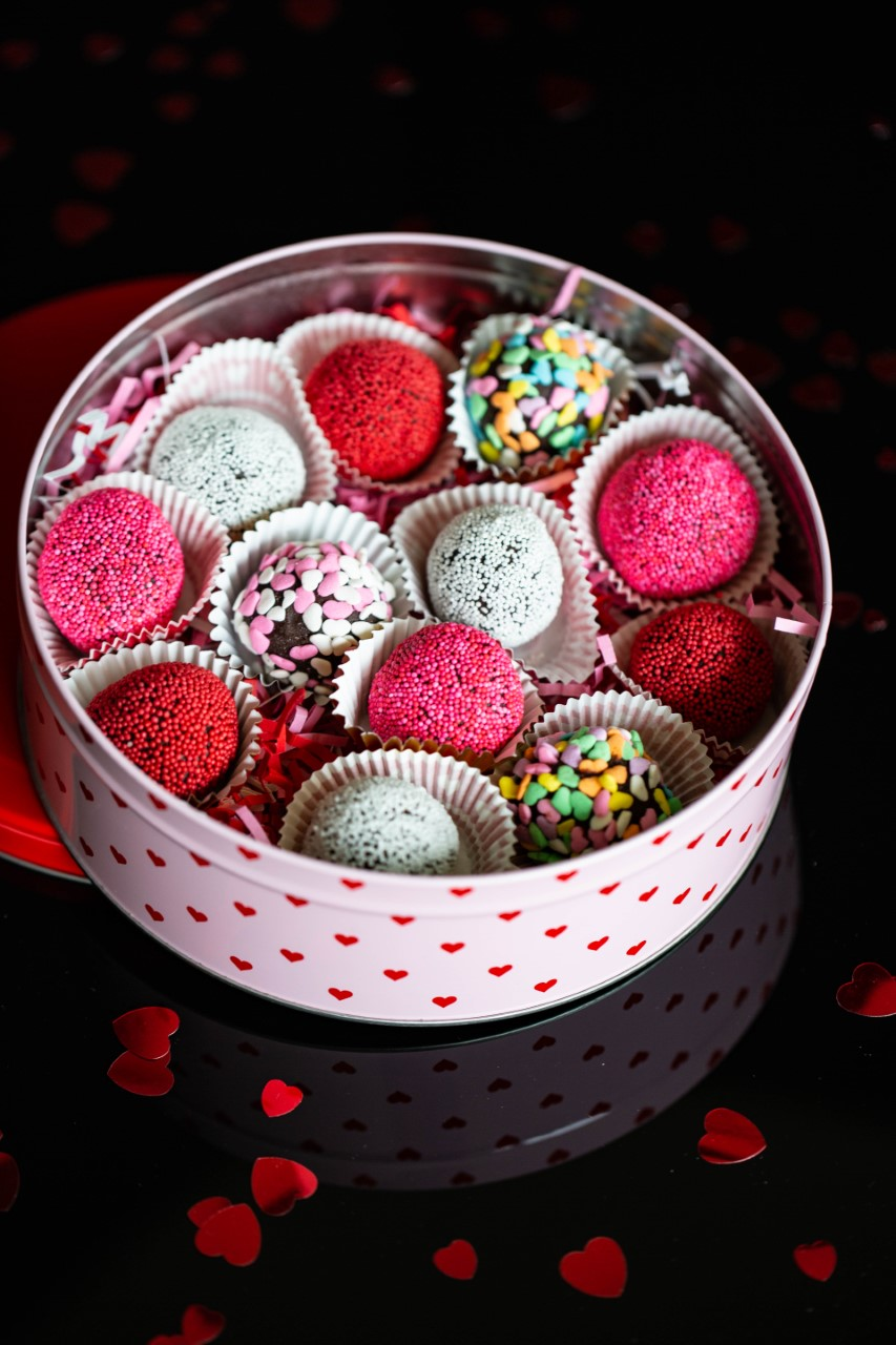 Valentine's Day Truffles with pink, red, white and heart sprinkles