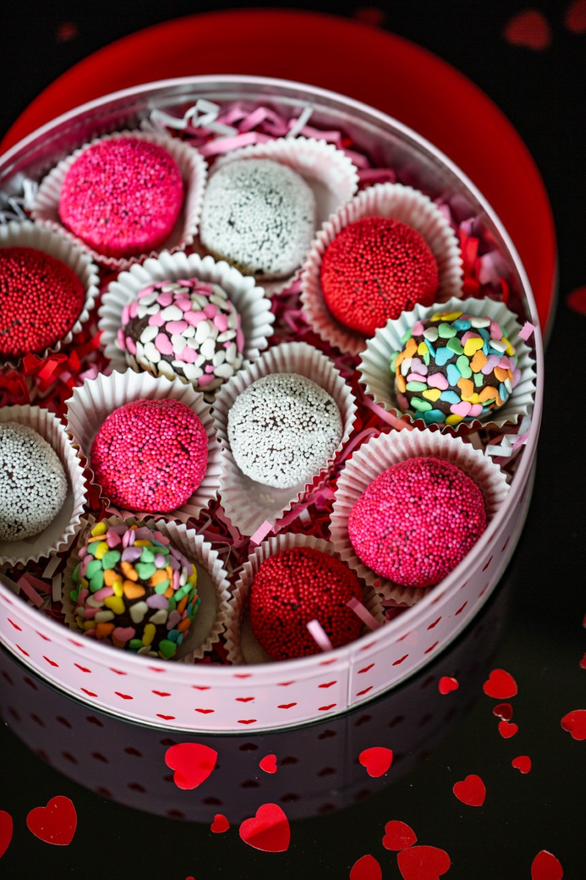 Valentine's Day Truffles rolled in sprinkles