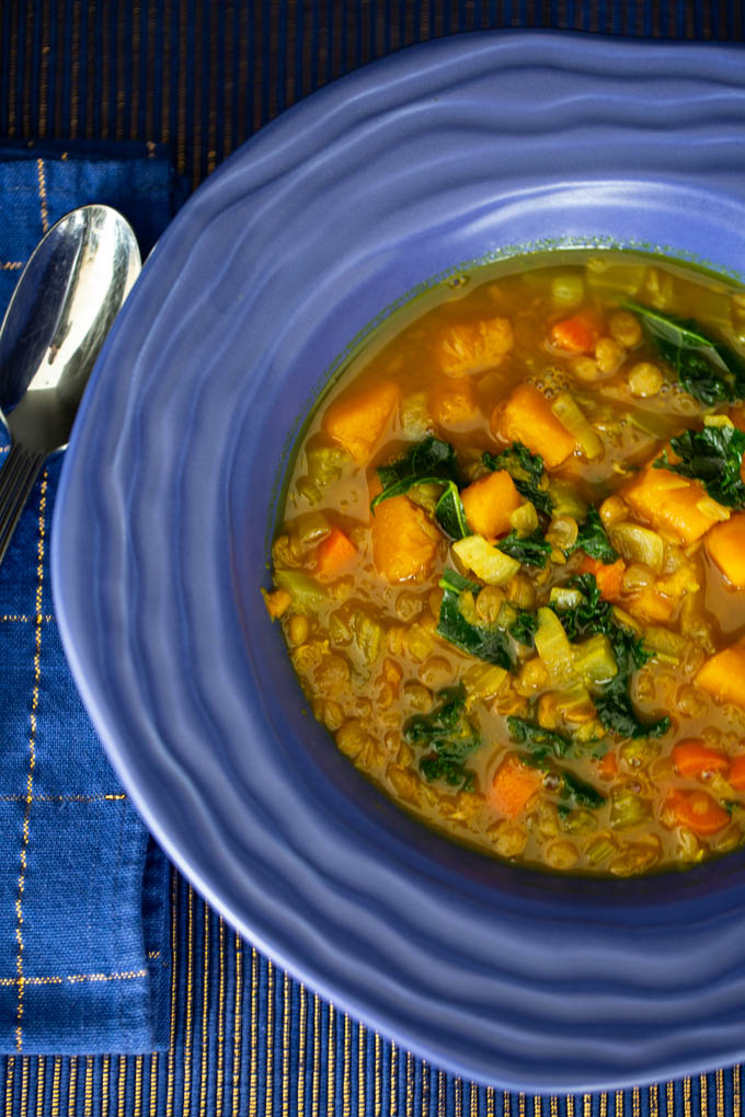 Cozy Lentil Soup is packed with healthy vegetables, herbs and warming spices