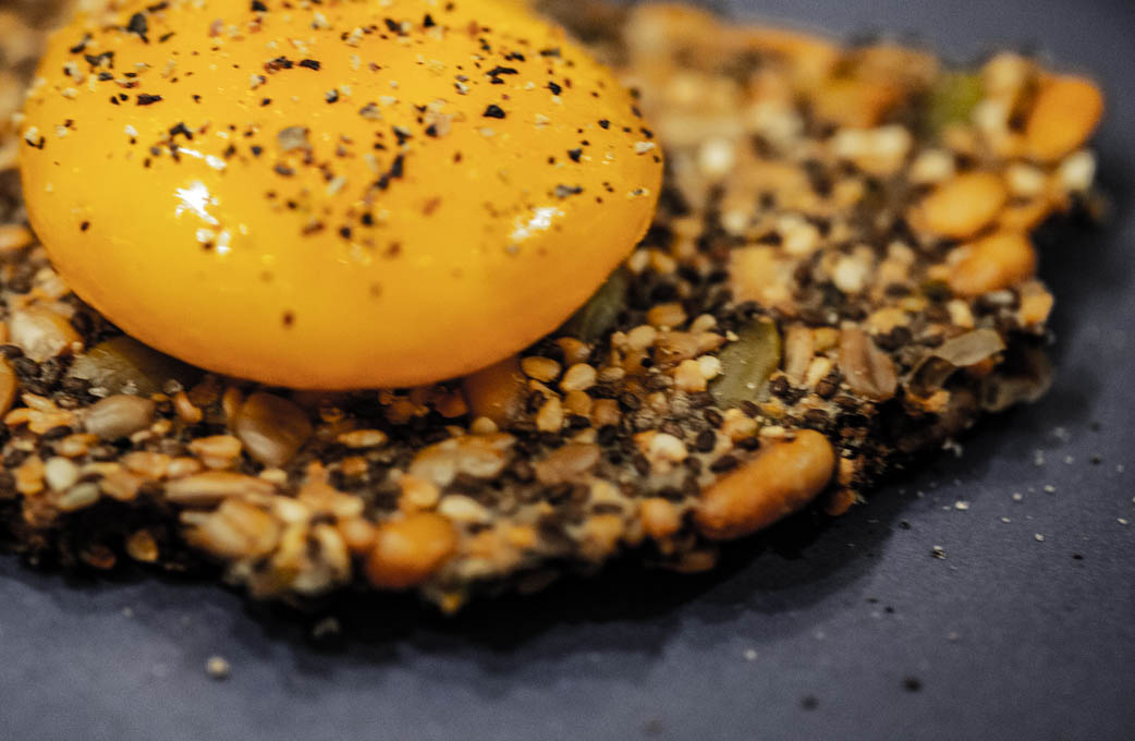 Salt-Cured Eggs on Seeded Crackers