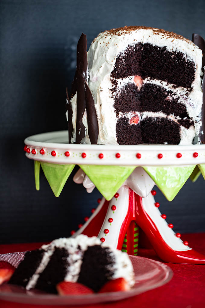 Black Forest Cake with Strawberries & Cream all combined with layers of a rich dark chocolate cake