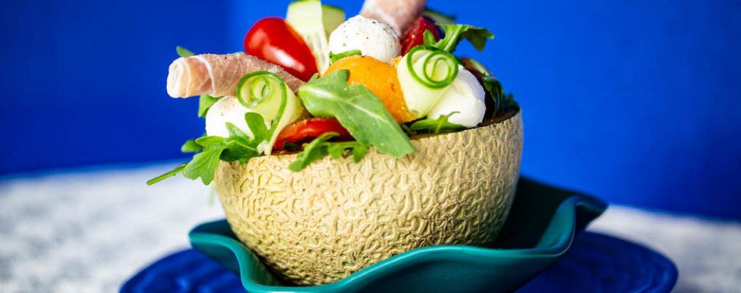 Melon & Proscuitto Salad with cucumber, tomatoes, mozzarella, and arugula