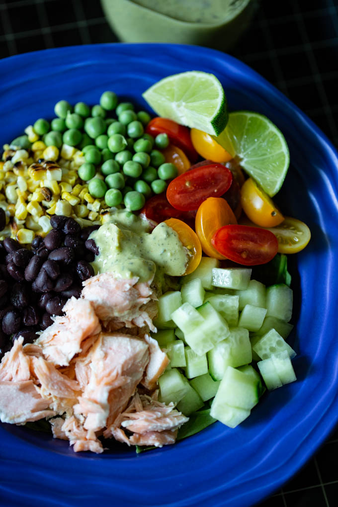 Salmon Buddha Bowl with Poblano Ranch Dressing