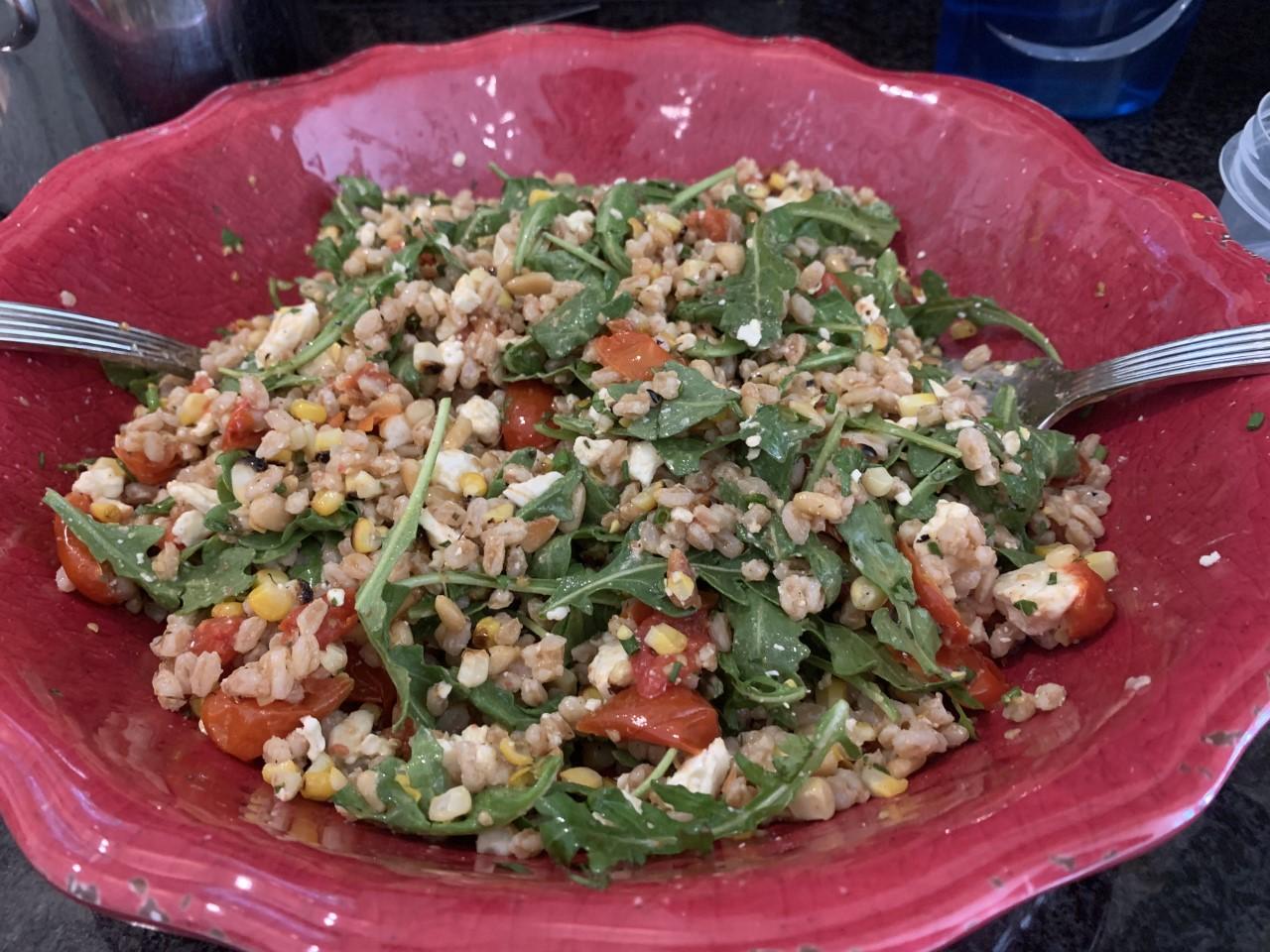 Farro Salad with Corn, Tomatoes, Feta, Arugula, and Pine Nuts