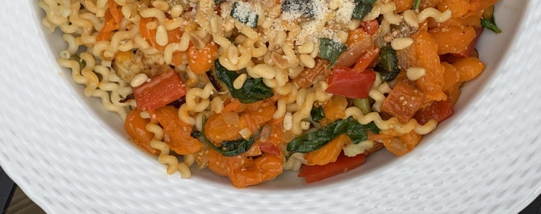 Fusilli pasta with Roasted Vegetables and Yellow Tomato Sauce