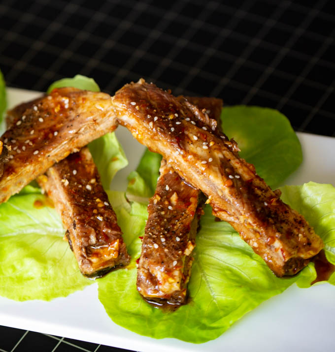 Asian Barbecue Spare Ribs with a sauce made from honey, soy, ginger, garlic, and Sambal Oelek