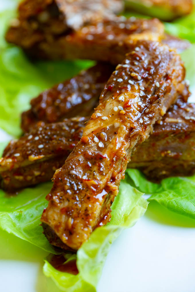 Asian Barbecue Spare Ribs with a sauce made from honey, soy, ginger, garlic and Sambal Oelek