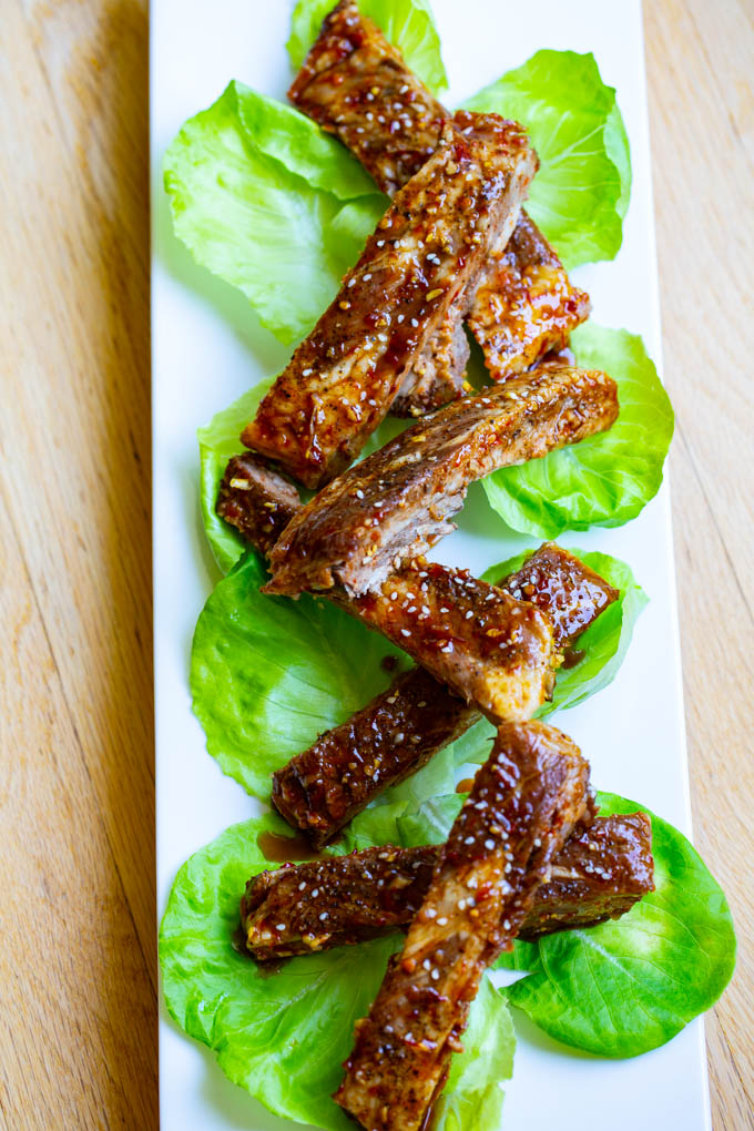 Asian Barbecue Spare Ribs with a sauce made from honey, soy, garlic, ginger and Sambal Oelek