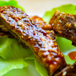 Asian Barbecue Spare Ribs with a sauce of sesame oil, honey, soy, garlic, ginger, and chili paste