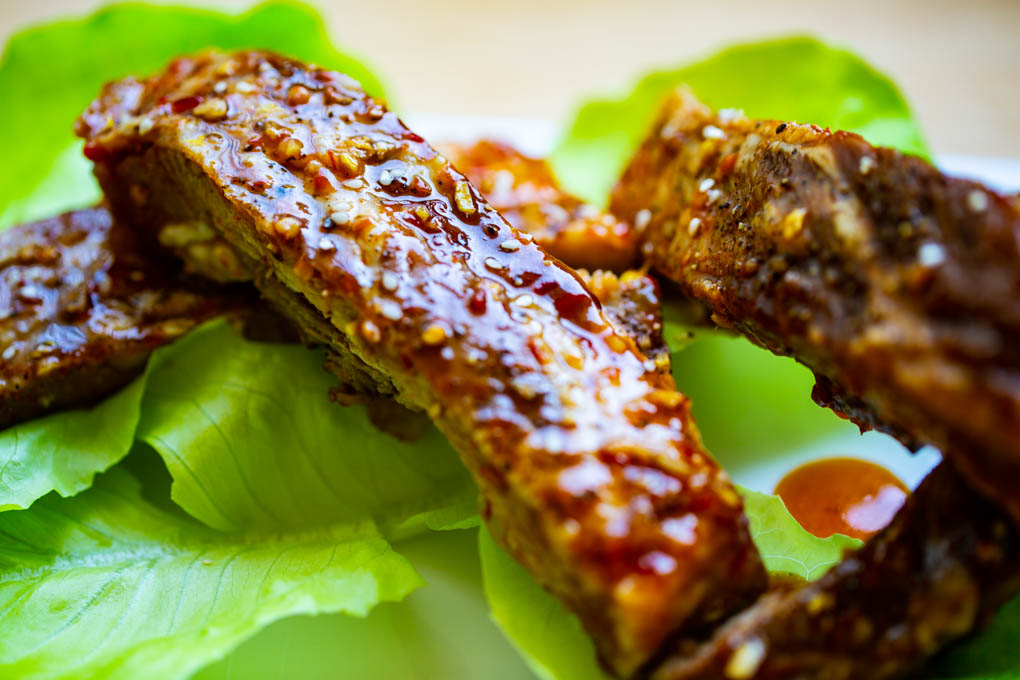 Asian Barbecue Spare Ribs with a sauce of honey, soy, garlic, ginger, and chili paste