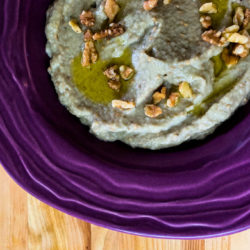 Smoky Eggplant Dip with Grilled Eggplant, tahini, spices and herbs
