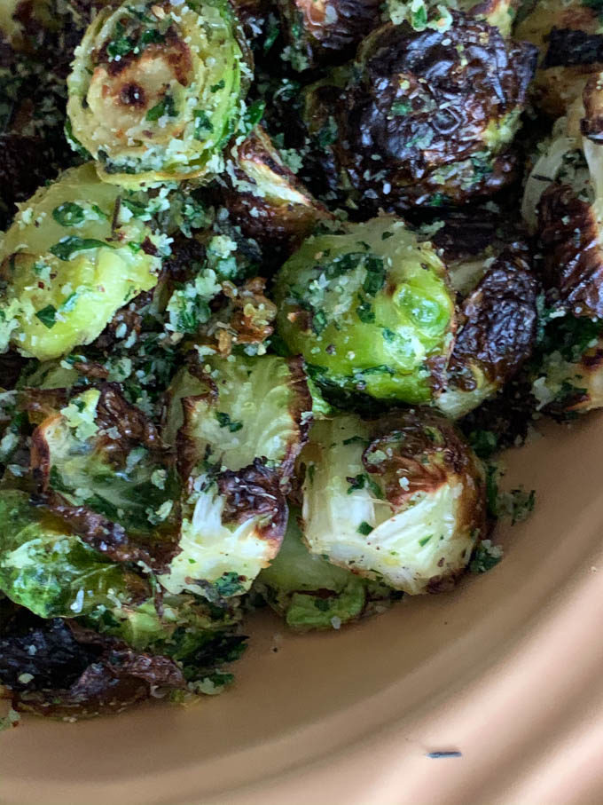 Roasted Brussels Sprouts with Lemon Zest, Parsley, Thyme, and Pecorino
