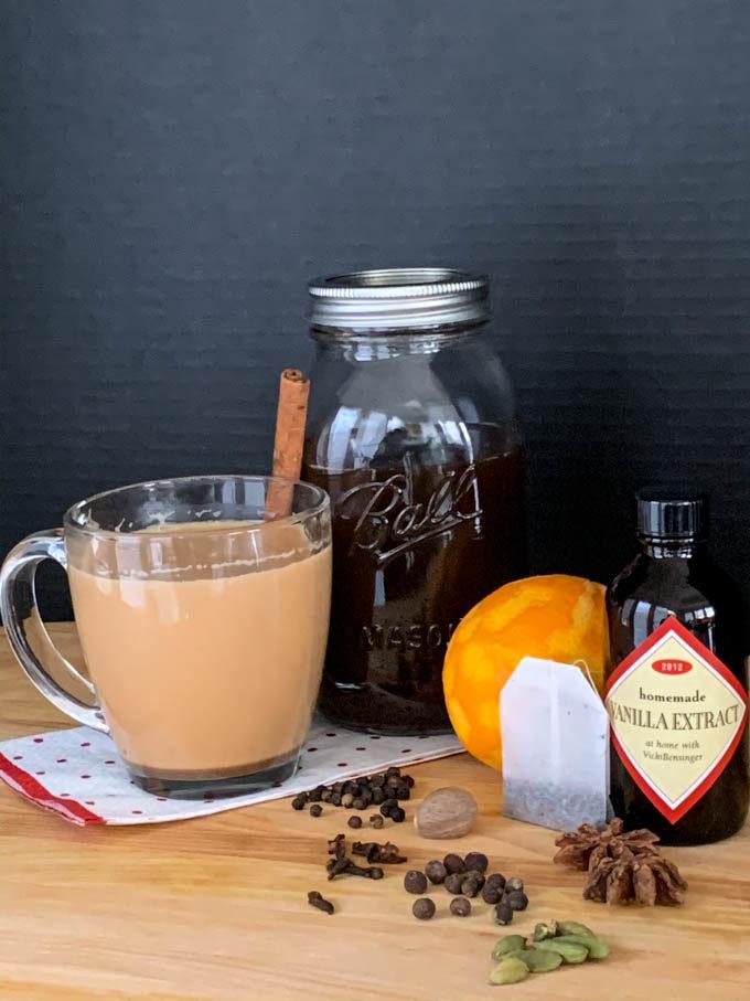 Chai Tea with cinnamon, star anise, cardamom, black pepper, allspice, orange zest, ginger, vanilla, nutmeg, & cloves
