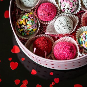 Decandent Chocolate Valentine's Day Truffles with sprinkles