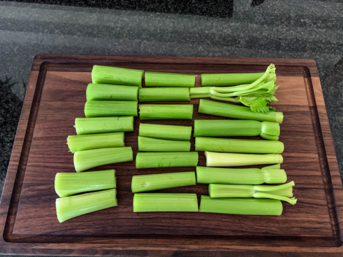 One bunch of celery cut for making celery juice