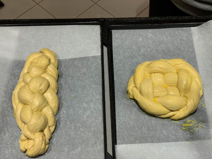 Homemade Challah before going into the oven