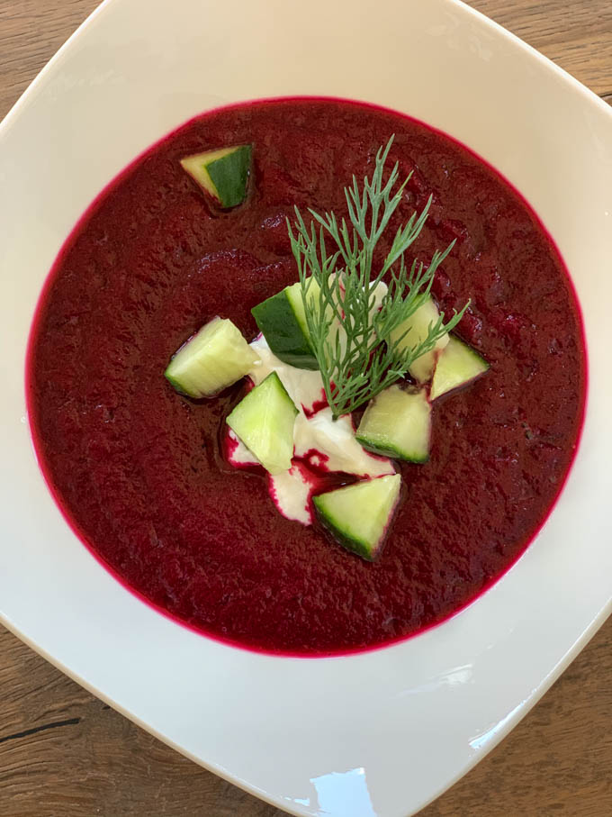 Beet Gazpacho with onions, cucumbers, & dill