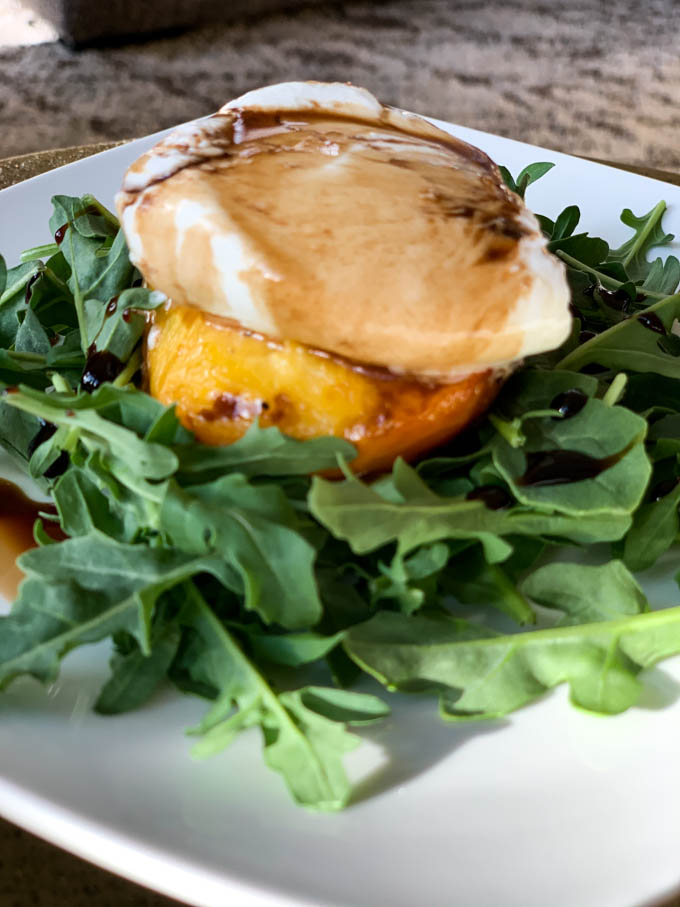 Grilled Peach & Burrata Salad with Balsamic drizzle