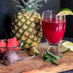 Watermelon Cooler with Watermelon, Pineapple, Lime, Beets, & Mint