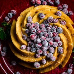 Swirling Cranberry Orange Bundt Cake with Sugared Cranberries
